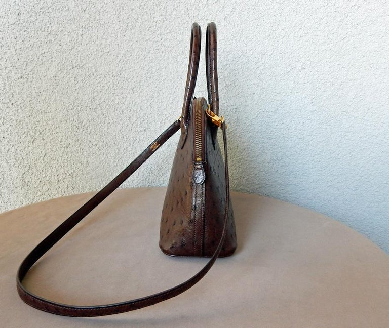 Hermes Genuine Ostrich Baby Bolide Handbag  Unused! In Excellent Condition For Sale In Los Angeles, CA