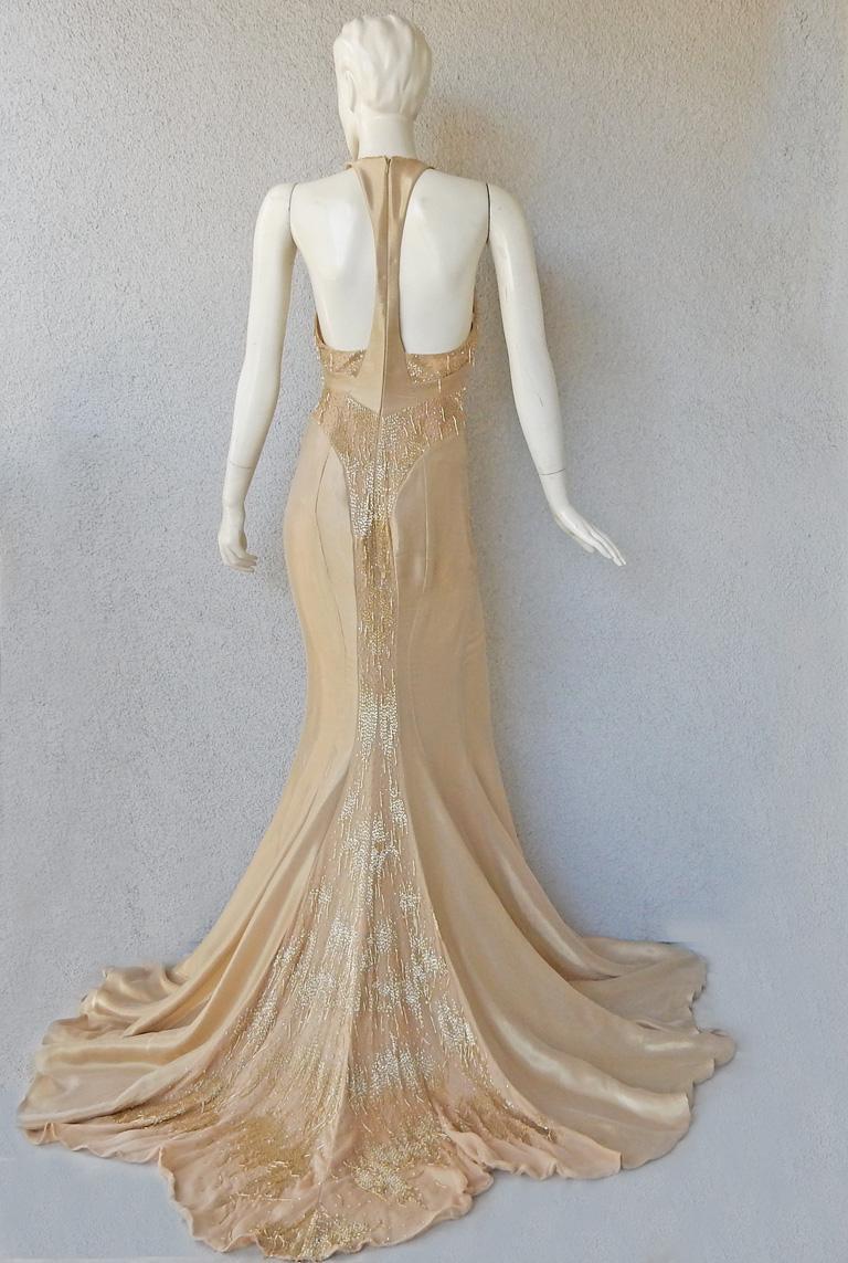 Women's Atelier Versace Golden Waterfall Swan Tail Dress Gown For Sale