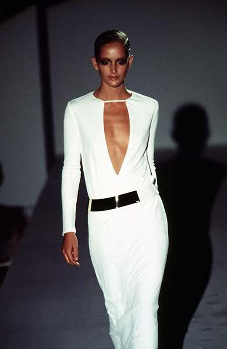 Gucci by Tom Ford Iconic 1996 Halston Inspired White Dress Gown Published In Excellent Condition For