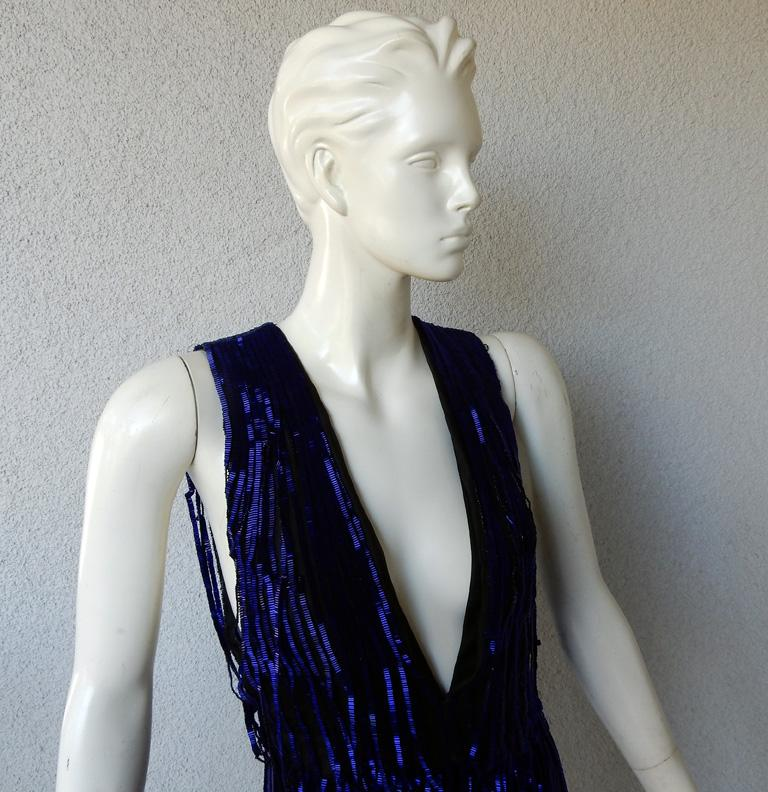 Tom Ford Cobalt Blue Beaded Deco Inspired Evening Dress Gown   New! In New Condition For Sale In Los Angeles, CA