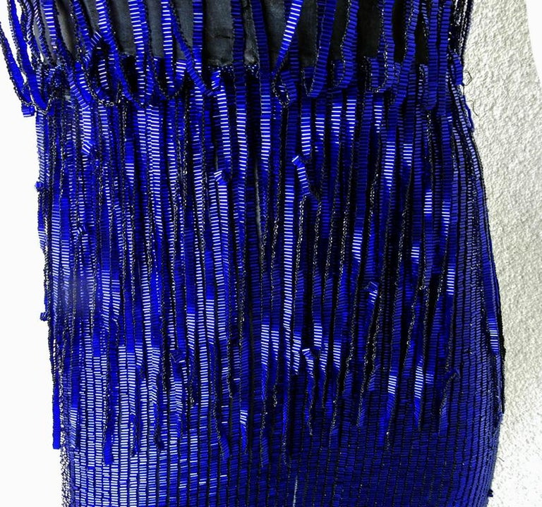 Women's Tom Ford Cobalt Blue Beaded Deco Inspired Evening Dress Gown   New! For Sale