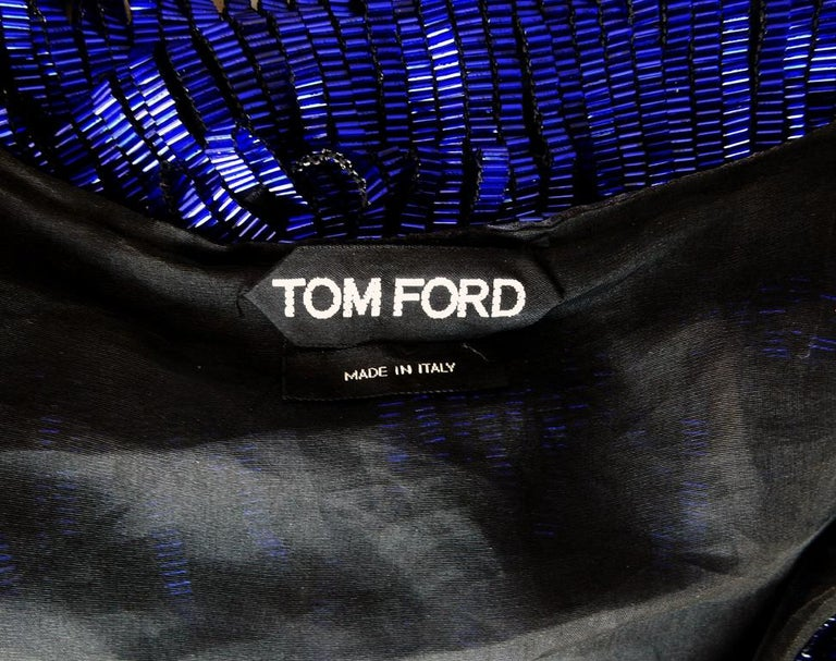 Tom Ford Cobalt Blue Beaded Deco Inspired Evening Dress Gown   New! For Sale 1
