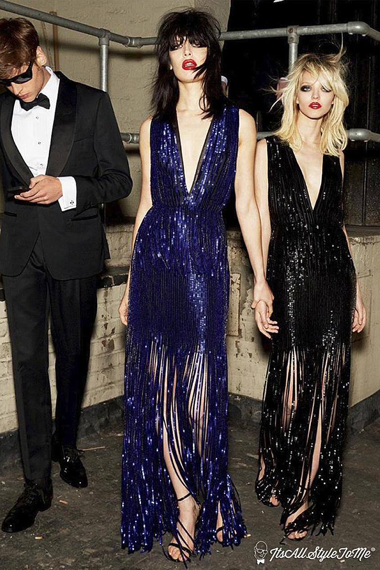 Tom Ford Cobalt Blue Beaded Deco Inspired Evening Dress Gown   New! For Sale 3