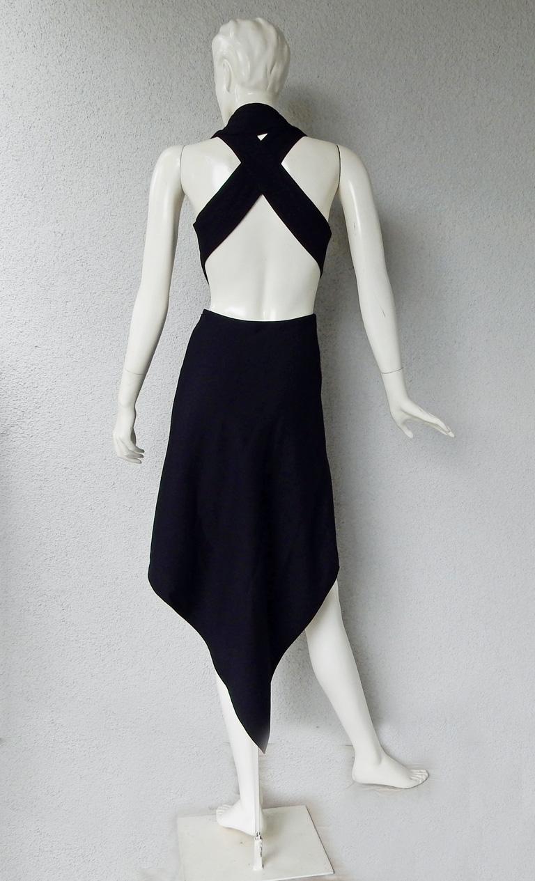 Black Yiqing Yin Poiret Designer Sexy Siren V Neck Hankerchief Hem Evening Dress  New! For Sale