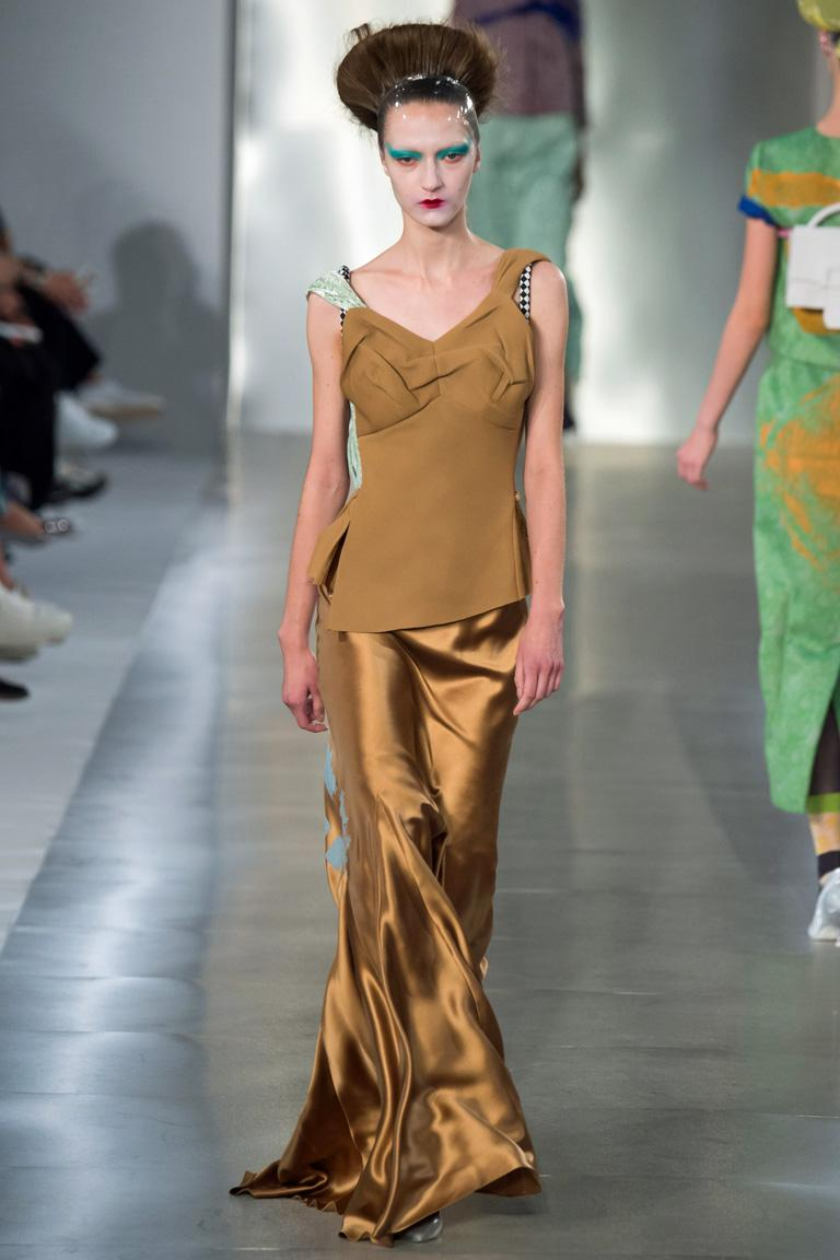 Brown Maison Margiela Gold Kimono Inspired Artwork Bias Mixed Media Dress Gown   New For Sale