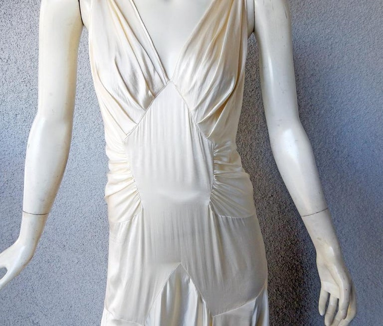 Rochas 1930's Inspired Harlowesque Bias Cut Dress Gown  New! In New Condition For Sale In Los Angeles, CA