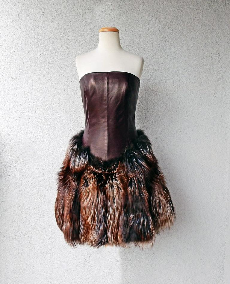 Gray Alexander McQueen 2007 Genuine Red Fox Fur Leather Bustier Dress   NEW! For Sale