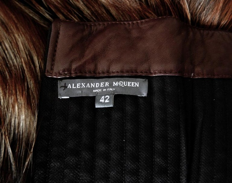 Alexander McQueen 2007 Genuine Red Fox Fur Leather Bustier Dress   NEW! For Sale 1