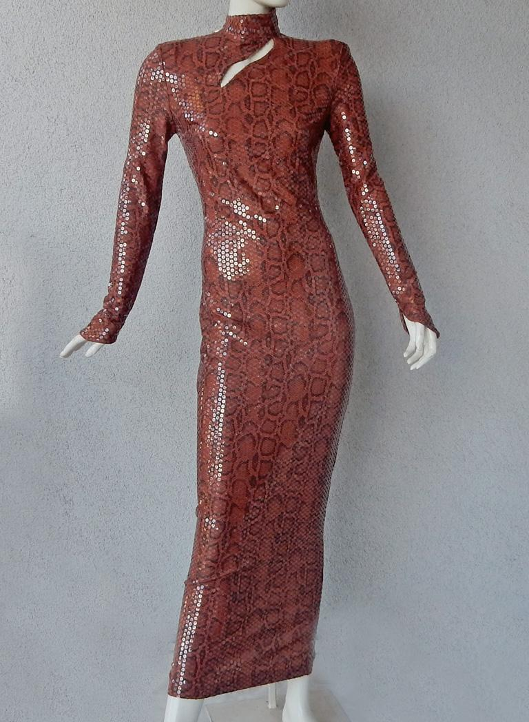 Brown  Thierry Mugler 1983 Python Beaded Body Hugging Dress  WOW For Sale