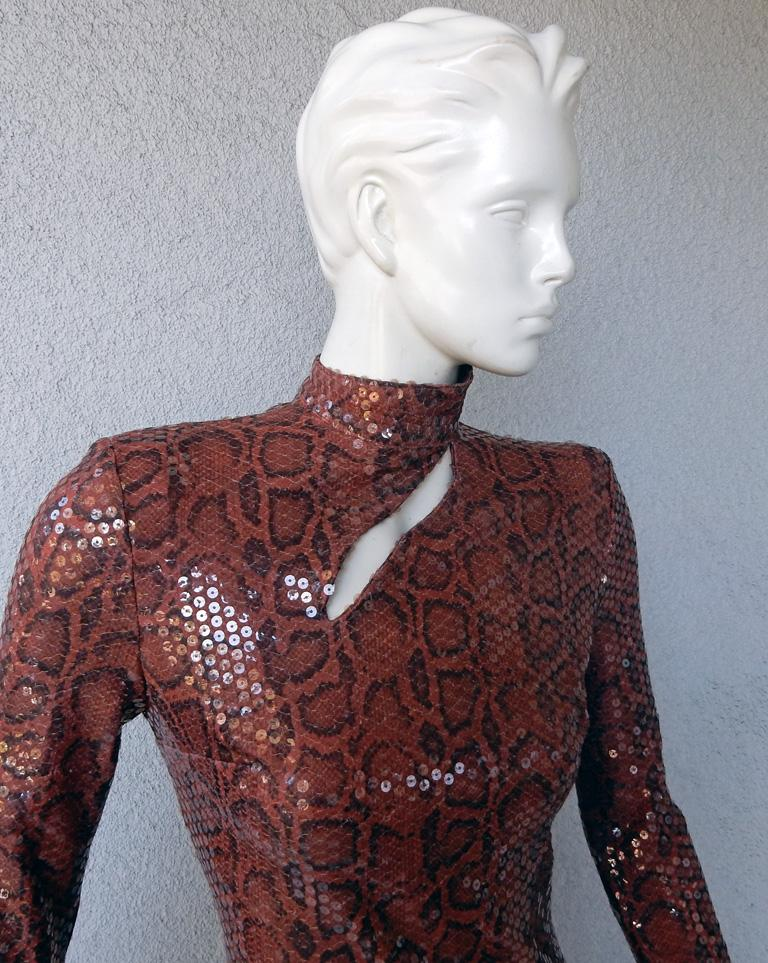 Thierry Mugler 1983 Python Beaded Body Hugging Dress  WOW In Excellent Condition For Sale In Los Angeles, CA