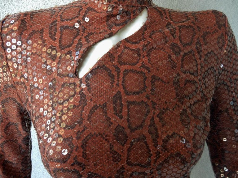 Women's  Thierry Mugler 1983 Python Beaded Body Hugging Dress  WOW For Sale