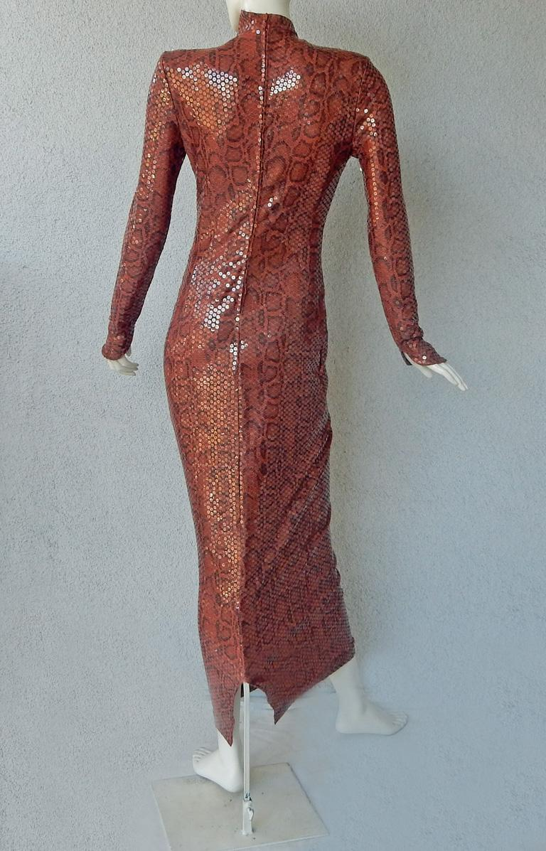 Thierry Mugler 1983 Python Beaded Body Hugging Dress  WOW For Sale 3