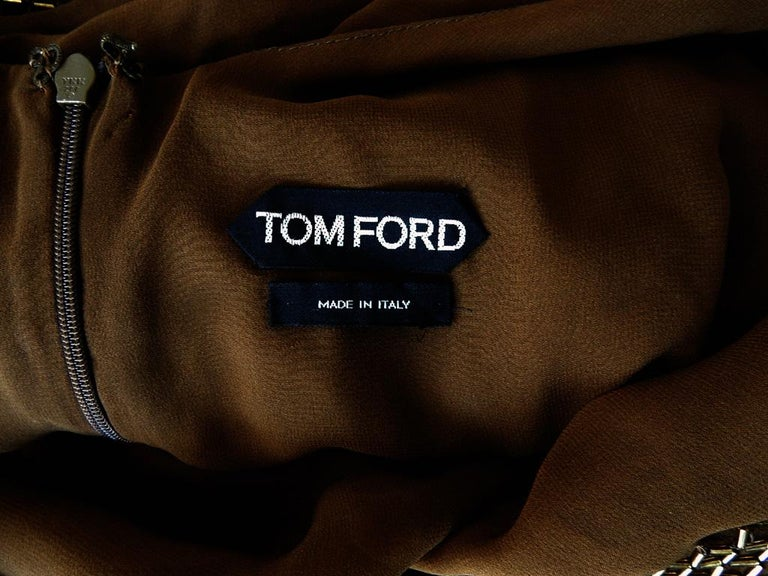 Tom Ford Dramatic Drape Bronze Beaded Evening Dress  New! In New Condition For Sale In Los Angeles, CA