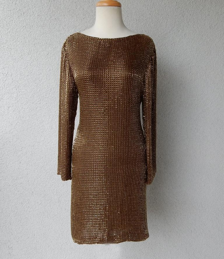 Tom Ford Dramatic Drape Bronze Beaded Evening Dress  New! For Sale 1