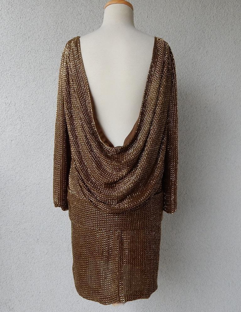 Tom Ford Dramatic Drape Bronze Beaded Evening Dress  New! For Sale 2