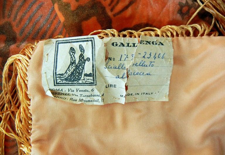 Gallenga Estate Apricot Panne Velvet Fringe Shawl fr Gallenga Estate  Rare For Sale 1