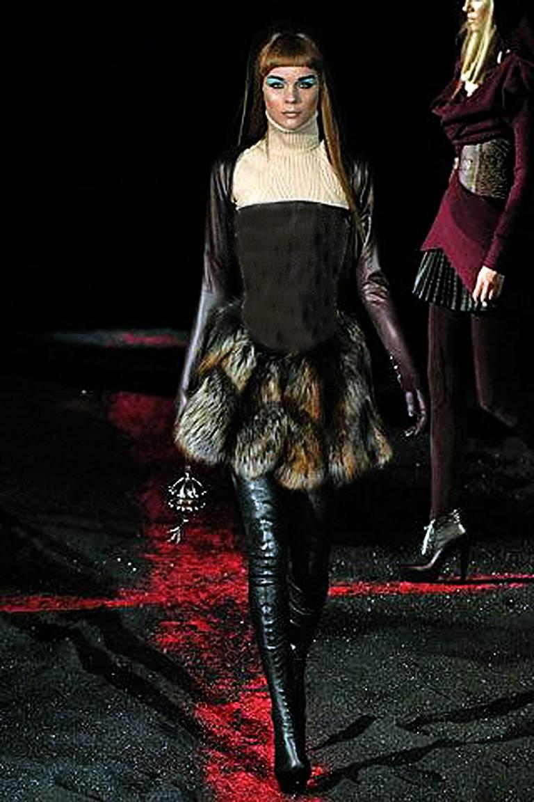 New! Alexander McQueen 2007 Genuine Red Fox Leather Bustier Dress For Sale 1