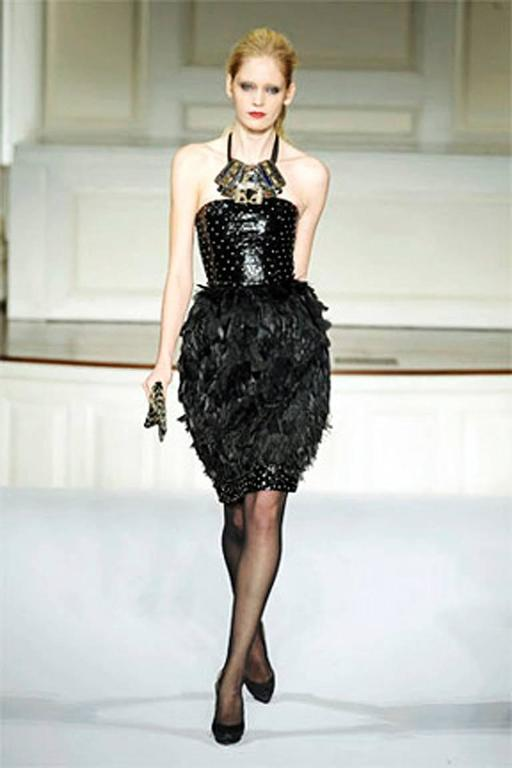 Oscar de la Renta Jeweled Feather Evening Dress 2