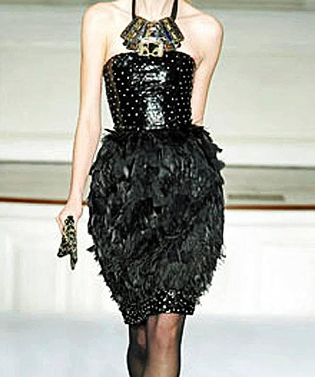 Oscar de la Renta Jeweled Feather Evening Dress 3
