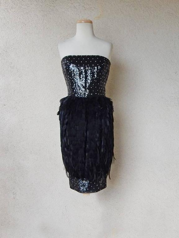 Oscar de la Renta Jeweled Feather Evening Dress 4