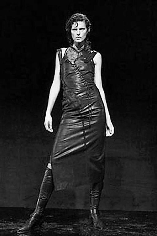 Rare 2000 Christian Dior by John Galliano Bondage Asymmetric Leather Dress 2