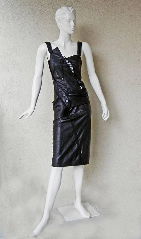 Rare 2000 Christian Dior by John Galliano Bondage Asymmetric Leather Dress 3