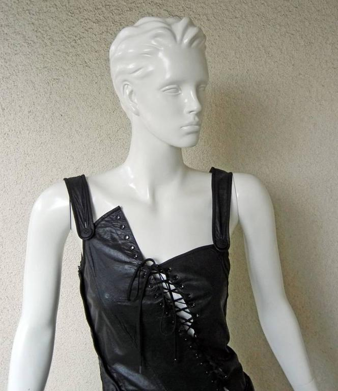 Rare 2000 Christian Dior by John Galliano Bondage Asymmetric Leather Dress 4