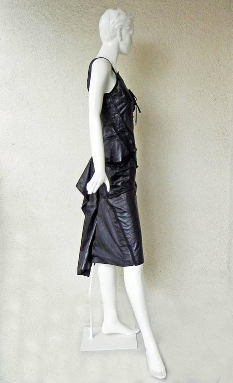 Rare 2000 Christian Dior by John Galliano Bondage Asymmetric Leather Dress 5
