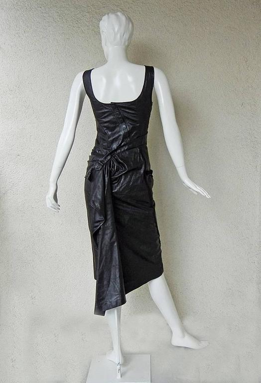 Rare 2000 Christian Dior by John Galliano Bondage Asymmetric Leather Dress 6