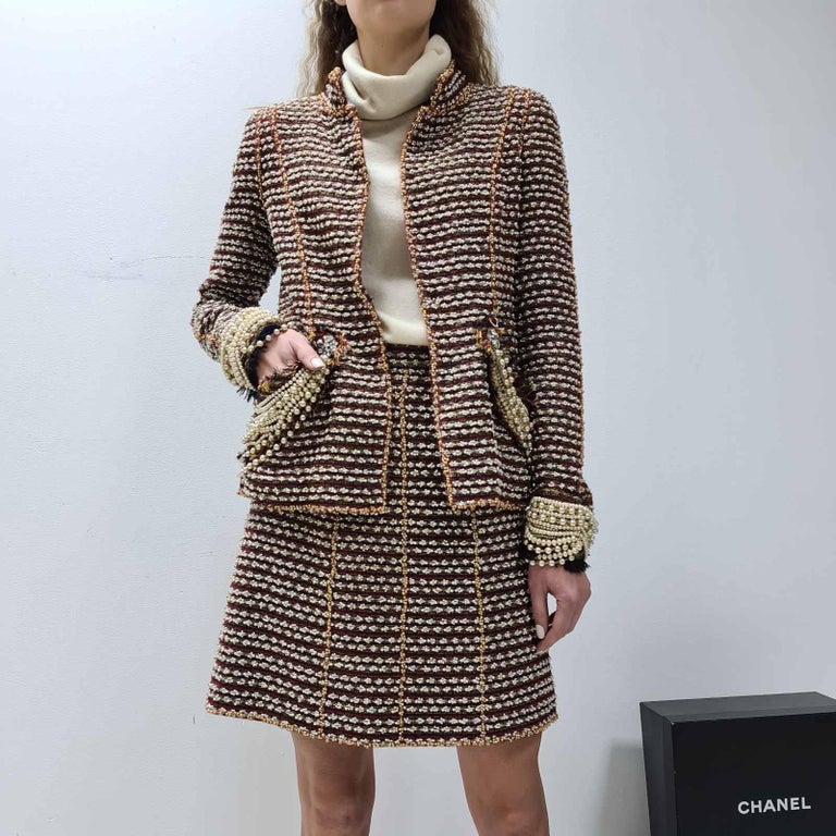 Chanel 12A Paris Bombay Pearl Chain Jacket Skirt Suit For Sale 13