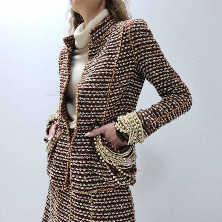 Chanel 12A Paris Bombay Pearl Chain Jacket Skirt Suit For Sale 15