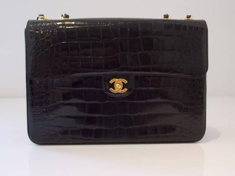 Chanel Black Crocodile Single Flap Handbag 2