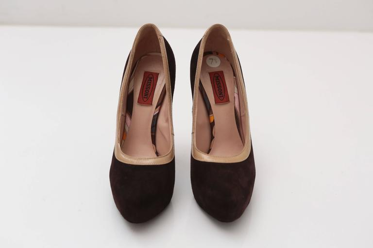 Black Missoni Brown Suede Pumps For Sale