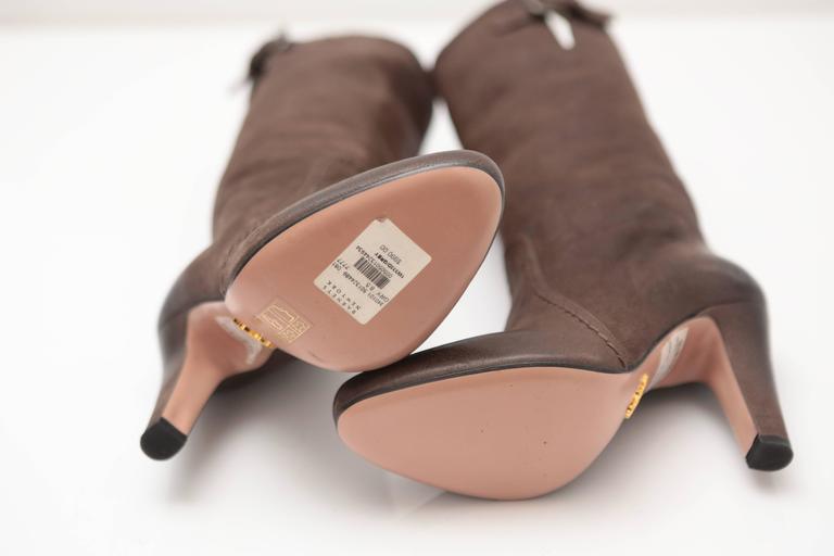 Prada Mid-calf Brown Leather Boots 5