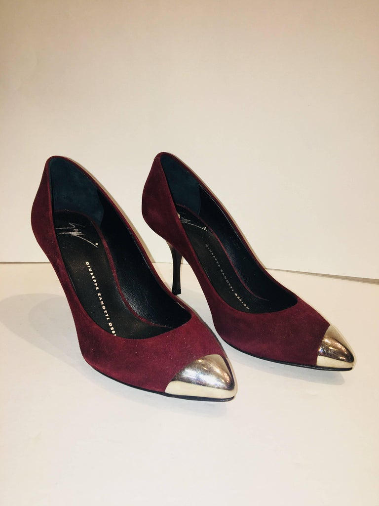 Giuseppe Zanotti Design Maroon Pumps with Silver Tipped Toe.