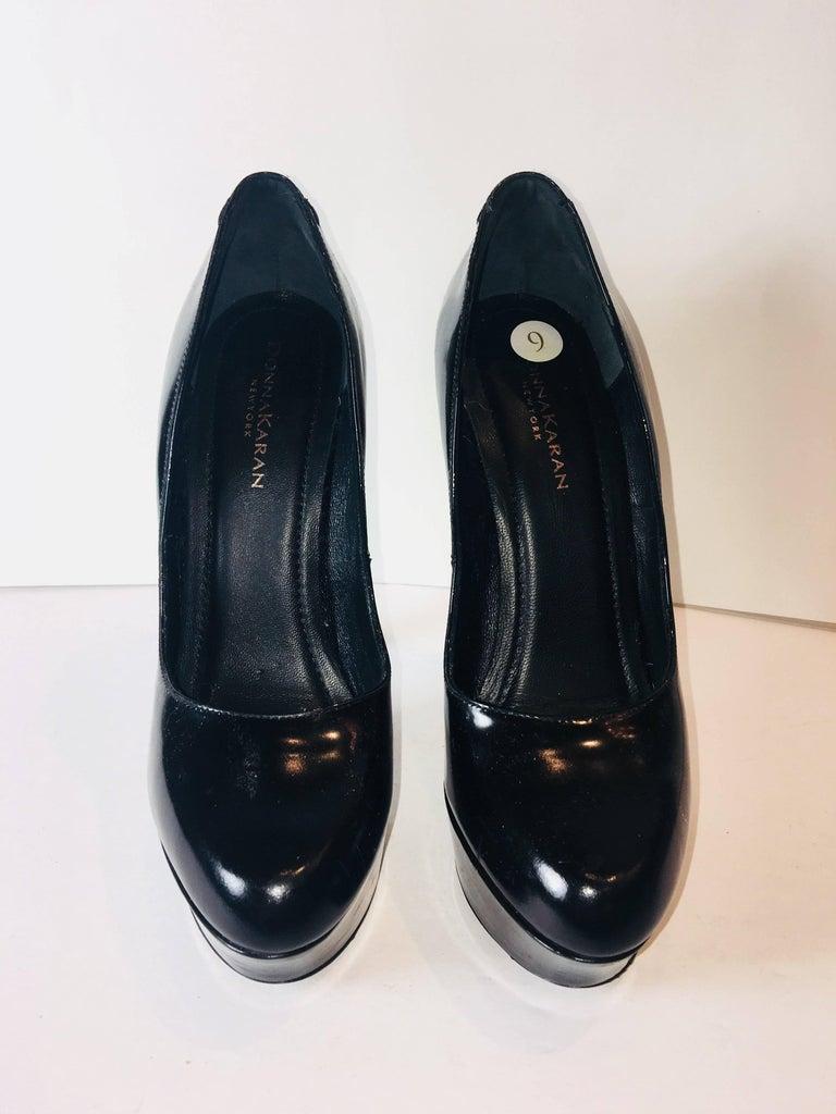 Black Donna Karan Round Toe Heel For Sale