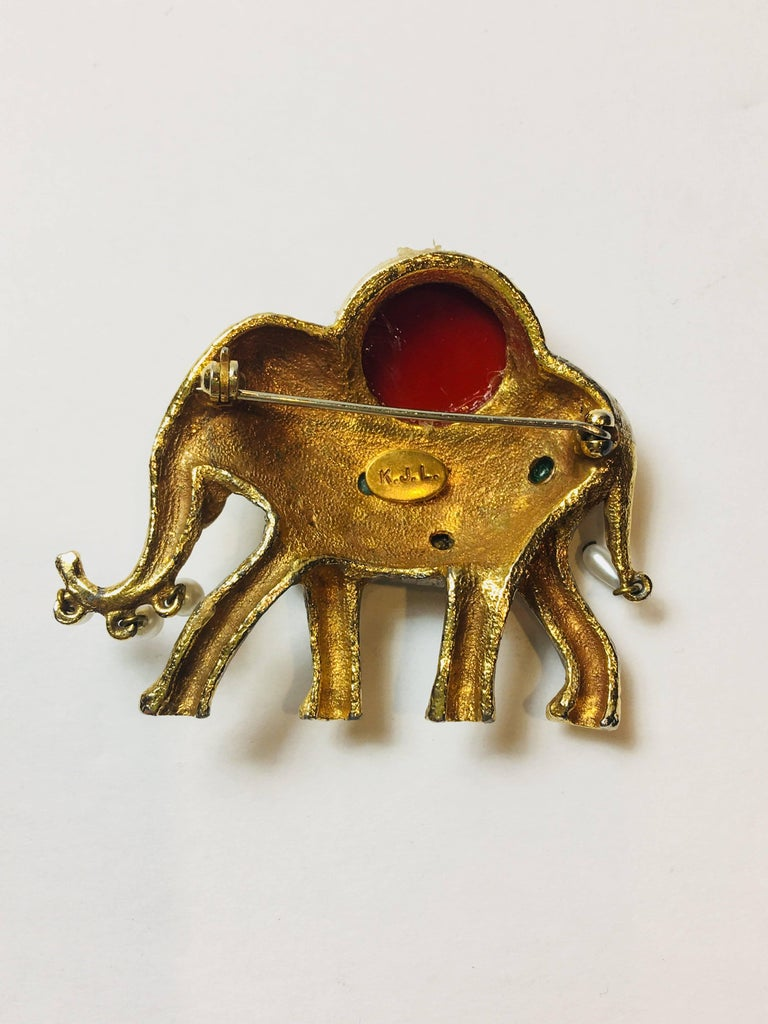 Kenneth Jay Lane Elephant Brooch with Multi Color Jewels.