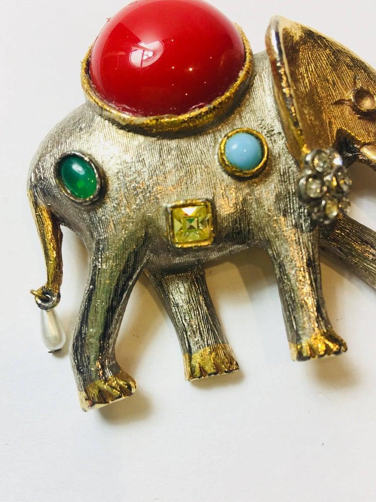 Women's or Men's Kenneth Jay Lane Elephant Brooch For Sale