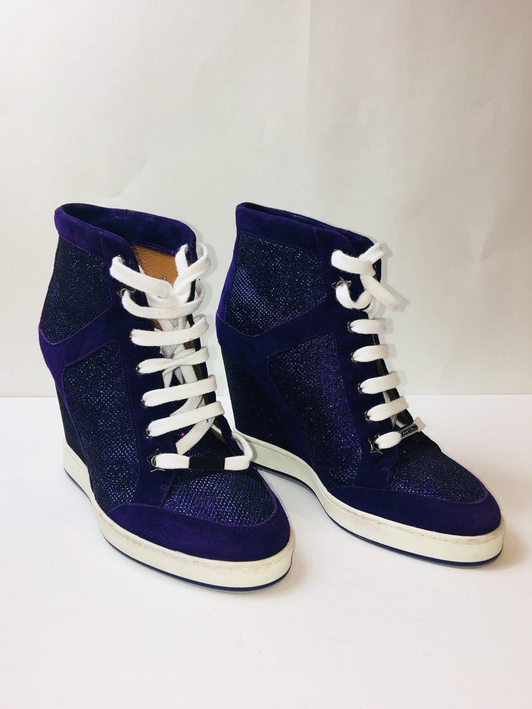 Jimmy Choo Purple High Top Wedge with Sparkle Panels and White Laces.