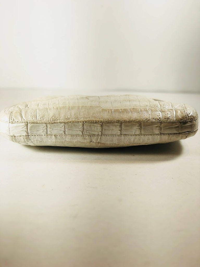 Brown Nancy Gonzalez Pearl Crocodile Skin Clutch For Sale