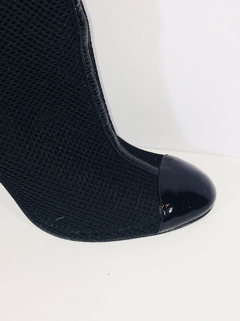Chanel Round Toe Bootie with Patent Leather Panels and Perforated Mesh Body and Zipper Back.
