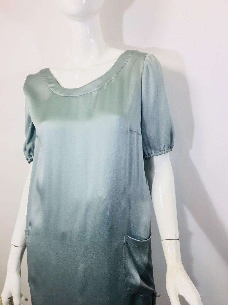Fendi Size 42 S/S Seafoam Colored Silk Dress, Open Back  W/ Pockets And Bow Closure.