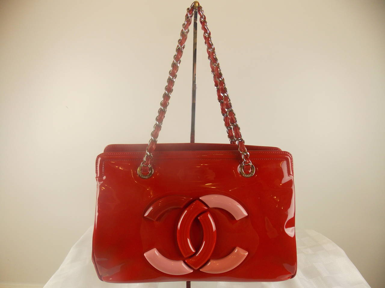 Chanel Red Patent Leather Lipstick Tote at 1stdibs