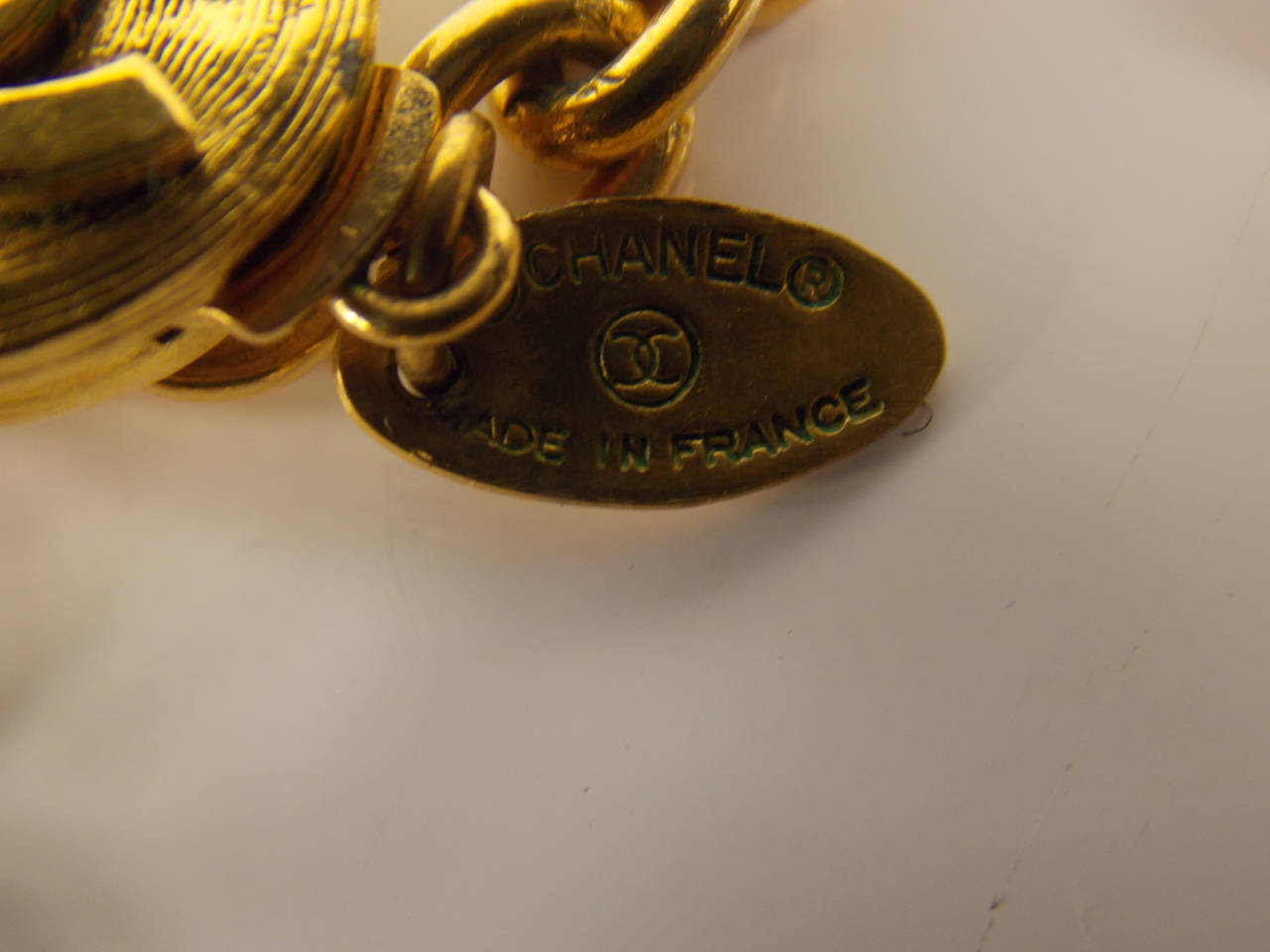 Chanel Necklace with Crystal Logo Pendant In Excellent Condition In Bridgehampton, NY