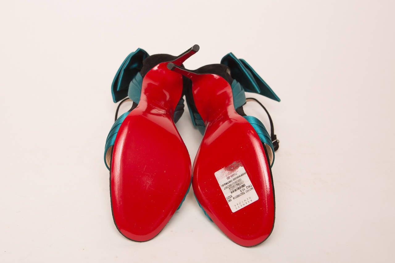 Women's Christian Louboutin Teal High Heel Sandal For Sale
