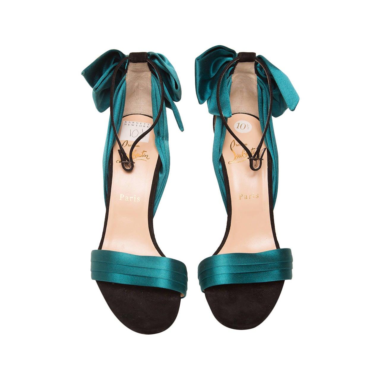 Christian Louboutin Teal High Heel Sandal For Sale