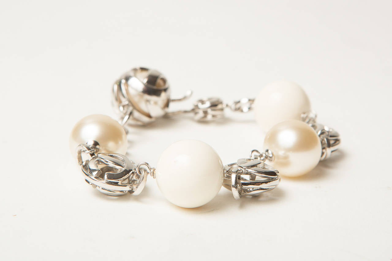 Chanel Pearl Earring and Bracelet Set 2