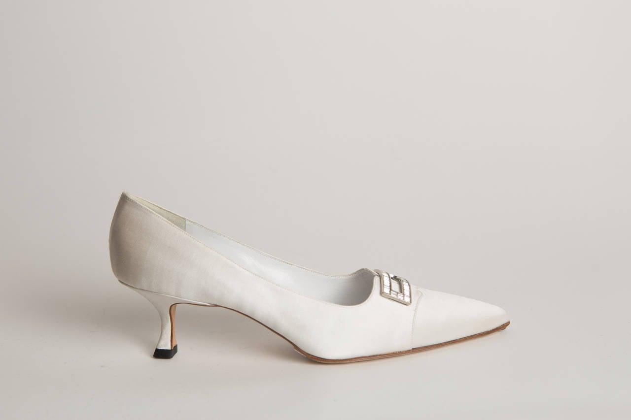 Manolo Blahnik White Low Heel Shoes at 1stdibs