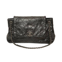 Chanel Black Leather Quilted Accordion Bag