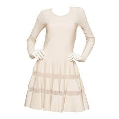 Alaïa Cream Fit and Flare Dress